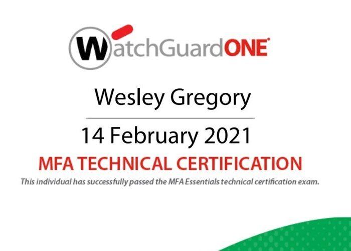 Wesley passes WatchGuard MFA Technical Certification